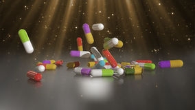 3D rendering multicolored medical pills. Falling from top to bottom Stock Photo