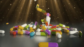 3D rendering multicolored medical pills. Falling from top to bottom Stock Photos