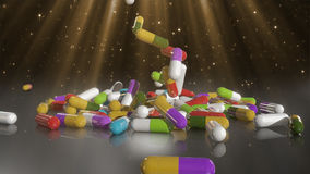 3D rendering multicolored medical pills. Falling from top to bottom Stock Image