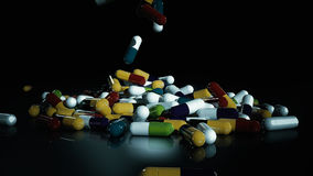 3D rendering multicolored medical pills. Falling from top to bottom Royalty Free Stock Image