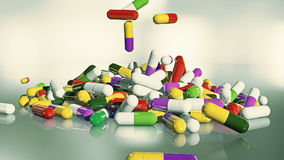 3D rendering multicolored medical pills. Falling from top to bottom Stock Photography