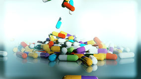 3D rendering multicolored medical pills. Falling from top to bottom Royalty Free Stock Photography