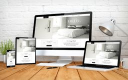 Hotel website responsive design screen multidevices. 3d rendering with multidevices with cool hotel responsive design website royalty free stock photo