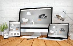 Interior design screen multidevices. 3d rendering with multidevices with interior design website Royalty Free Stock Photos