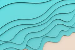 3d rendering, multilayer paper cut illustration background. Computer digital background style shape shadow texture origami summer abstract ocean blue sea wave vector illustration
