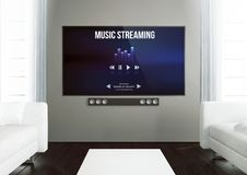 Wooden living room with music streaming app at smart tv. 3d rendering of music streaming app on smart tv on a wooden living room stock illustration