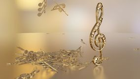 3D rendering of a musical treble clef and falling notes. Composition of voluminous musical signs. 3D rendering of a musical treble clef and falling notes Stock Images