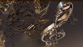 3D rendering of a musical treble clef and falling notes. Composition of voluminous musical signs. 3D rendering of a musical treble clef and falling notes Royalty Free Stock Photography