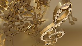 3D rendering of a musical treble clef and falling notes Royalty Free Stock Image