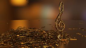 3D rendering of a musical treble clef and falling notes. Composition of voluminous musical signs. 3D rendering of a musical treble clef and falling notes Royalty Free Stock Image