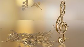 3D rendering of a musical treble clef and falling notes. Composition of voluminous musical signs. 3D rendering of a musical treble clef and falling notes Royalty Free Stock Photo