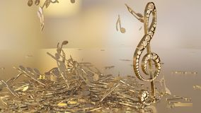 3D rendering of a musical treble clef and falling notes. Composition of voluminous musical signs. 3D rendering of a musical treble clef and falling notes Stock Photos