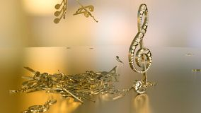 3D rendering of a musical treble clef and falling notes. Composition of voluminous musical signs. 3D rendering of a musical treble clef and falling notes Stock Photography