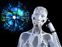 3D rendering myśleć o coś żeński robot fotografia royalty free