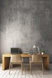 3D rendering: Naga cement ściana z nowożytnym pracującym biurkiem Zdjęcia Stock