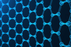 3d rendering nanotechnology, glowing hexagonal geometric form close-up, concept graphene atomic structure, concept. 3d rendering nanotechnology hexagonal stock illustration