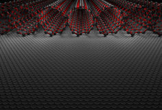 3D Rendering of Nanotubes. Dark Silver Atoms and Red Bonds stock illustration