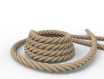 3D rendering of a nautical rope on white background. royalty free illustration