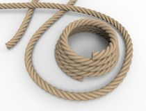 3D rendering of a nautical rope on white background. stock illustration
