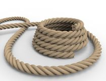 3D rendering of a nautical rope on white background. vector illustration