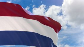 3D rendering of Netherlands flag waving on blue sky background with Alpha channel stock video footage