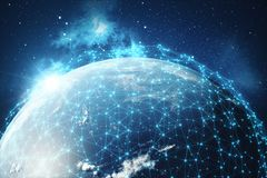 3D rendering Network and data exchange over planet earth in space. Connection lines Around Earth Globe. Global. International Connectivity, Elements of this Stock Image
