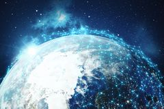 3D rendering Network and data exchange over planet earth in space. Connection lines Around Earth Globe. Global. International Connectivity, Elements of this Stock Photos