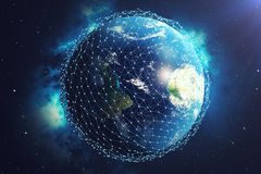 3D rendering Network and data exchange over planet earth in space. Connection lines Around Earth Globe. Global. International Connectivity, Elements of this Stock Photo