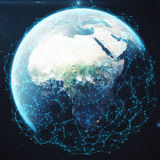 3D rendering Network and data exchange over planet earth in space. Connection lines Around Earth Globe. Global. International Connectivity. Elements of this Stock Photo