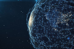 3D rendering Network and data exchange over planet earth in space. Connection lines Around Earth Globe. Global. International Connectivity. Elements of this Royalty Free Stock Photo