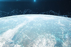 3D rendering Network and data exchange over planet earth in space. Connection lines Around Earth Globe. Global. International Connectivity, Elements of this Royalty Free Stock Images