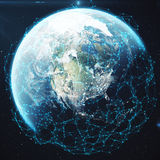 3D rendering Network and data exchange over planet earth in space. Connection lines Around Earth Globe. Global Royalty Free Stock Images