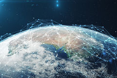 3D rendering Network and data exchange over planet earth in space. Connection lines Around Earth Globe. Global. International Connectivity. Elements of this Stock Images