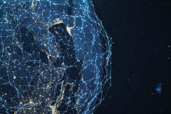 3D rendering Network and data exchange over planet earth in space. Connection lines Around Earth Globe. Global. International Connectivity. Elements of this Royalty Free Stock Photos