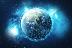 3D rendering Network and data exchange over planet earth in space. Connection lines Around Earth Globe. Global Royalty Free Stock Image