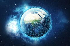 3D rendering Network and data exchange over planet earth in space. Connection lines Around Earth Globe. Global Stock Images