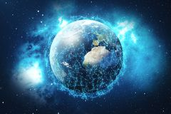3D rendering Network and data exchange over planet earth in space. Connection lines Around Earth Globe. Global. International Connectivity, Elements of this Royalty Free Stock Image