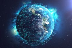 3D rendering Network and data exchange over planet earth in space. Connection lines Around Earth Globe. Global. International Connectivity, Elements of this Stock Images
