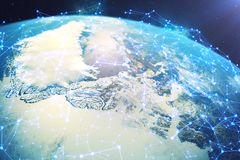 3D rendering Network and data exchange over planet earth in space. Connection lines Around Earth Globe. Global. International Connectivity, Elements of this Royalty Free Stock Photo