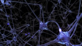 3D rendering of a network of neuron cells and synapses in the brain through which electrical impulses and discharges pass. 3D rendering of a network of neuron stock illustration