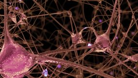 3D rendering of a network of neuron cells and synapses in the brain through which electrical impulses and discharges pass vector illustration