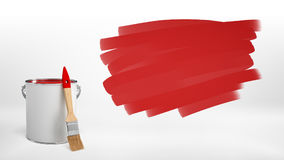 3d rendering of a new bucket of red paint with a wooden brush leaning on it beside a red spot made of brush strokes. Royalty Free Stock Photography