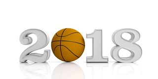 3d rendering new year 2018 with basket ball. On white background Stock Images