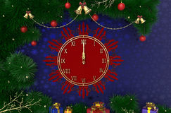 3D Rendering New Year, Christmas background with clock, tinsel, balls and gifts Stock Image