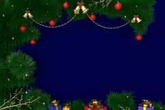 3D Rendering New Year, Christmas background with tinsel, balls and gifts Stock Photography