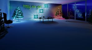 3D rendering. New year is coming soon. The styling of the interior to celebrate the New Year. Set the table and the Christmas tree. The evening in the office royalty free stock photography