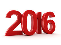 3D rendering 2016 New Year digits. 3D rendering Red 2016 New Year digits on white background vector illustration