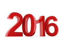 3D rendering 2016 New Year digits. 3D rendering Red 2016 New Year digits on white background royalty free illustration
