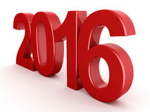 3D rendering 2016 New Year digits. 3D rendering Red 2016 New Year digits on white background stock illustration