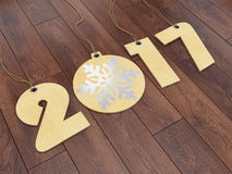 3D rendering 2017 New Year digits. On textural background Stock Photography